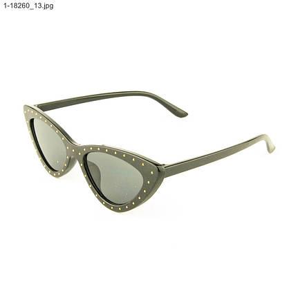 Оптом очки солнцезащитные кошачий глаз - Черные с шипами - 1-18260, фото 3