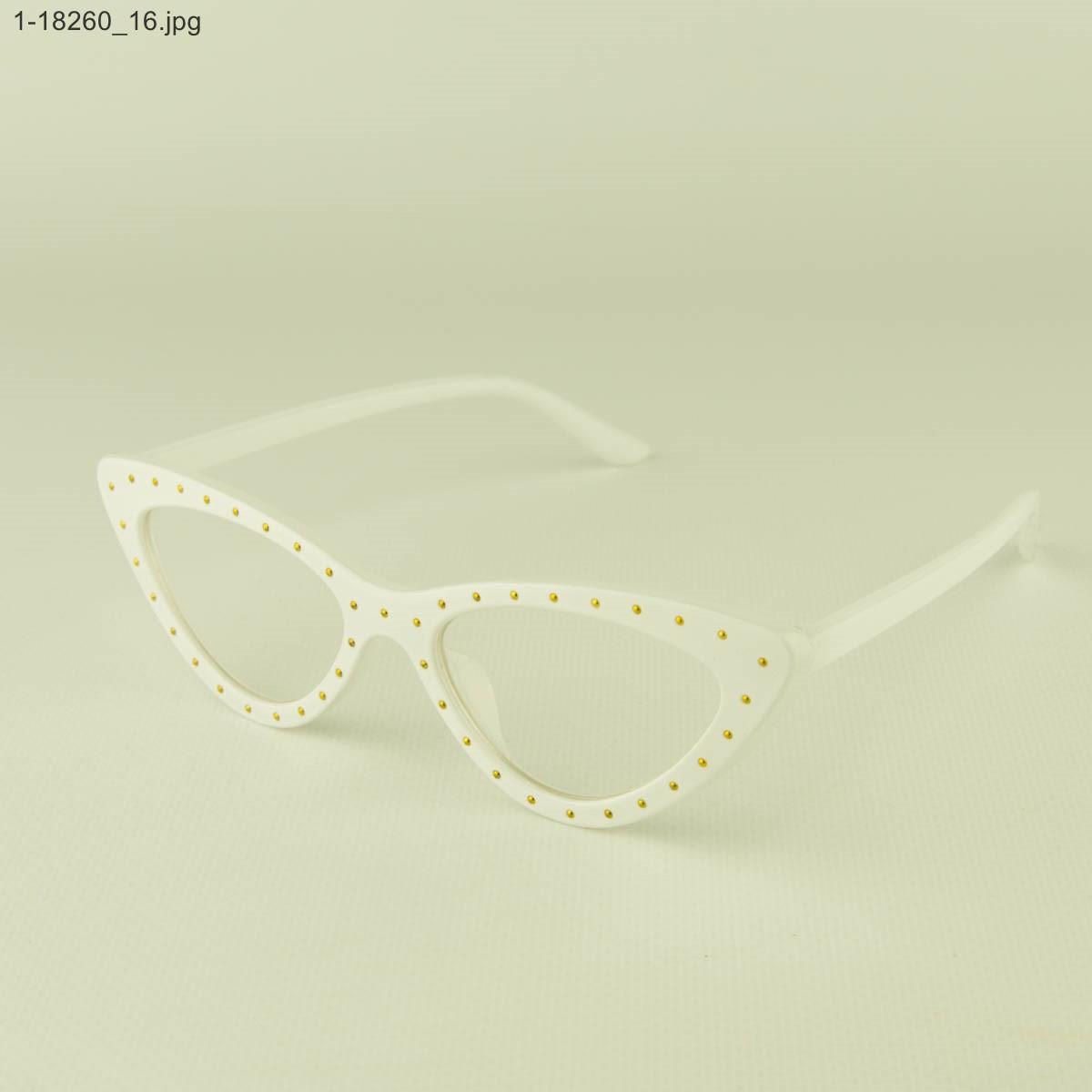 Оптом очки имиджевые кошачий глаз - Белые с шипами - 1-18260