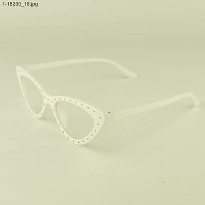 Оптом очки имиджевые кошачий глаз - Белые с шипами - 1-18260, фото 3