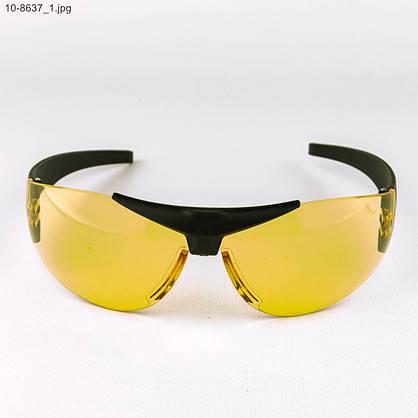 Оптом очки мужские спортивные - черные с желтыми линзами - 10-8637, фото 2
