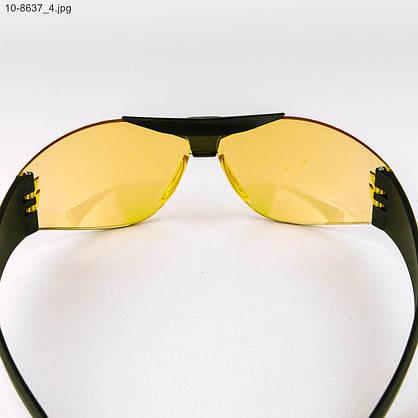 Оптом очки мужские спортивные - черные с желтыми линзами - 10-8637, фото 3