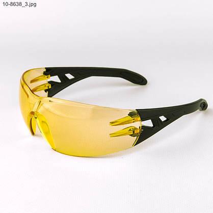 Оптом очки мужские спортивные - черные с желтыми линзами - 10-8638, фото 3