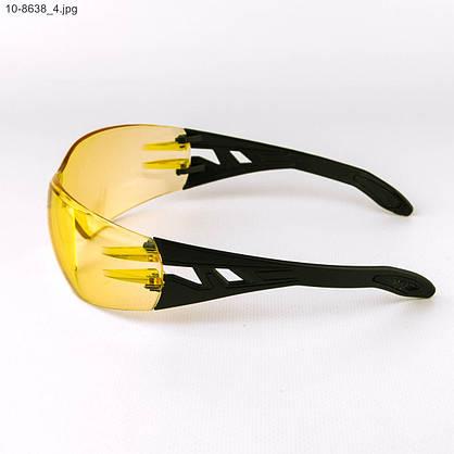 Оптом очки мужские спортивные - черные с желтыми линзами - 10-8638, фото 2