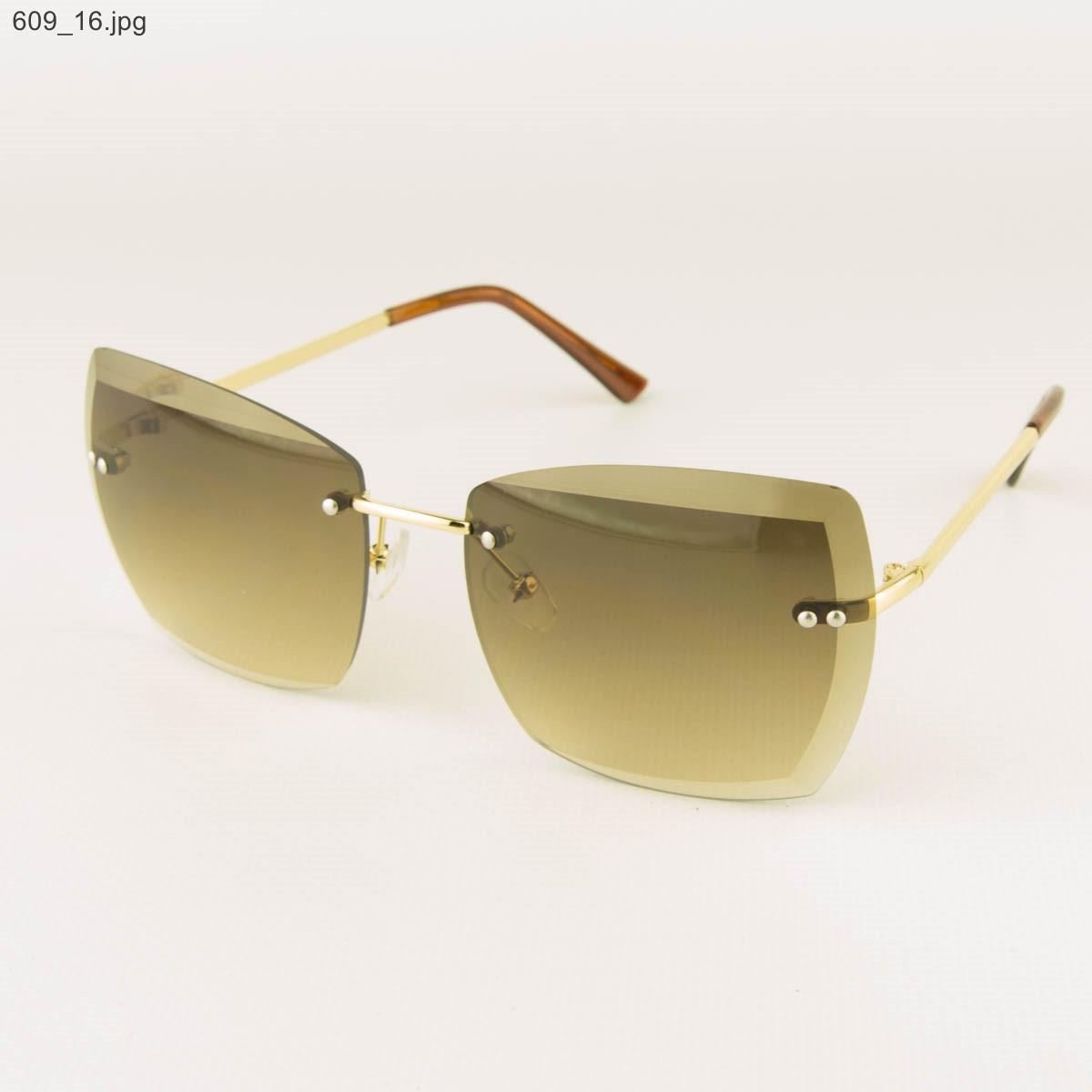 Оптом солнцезащитные квадратные женские очки с коричневыми линзами - 609