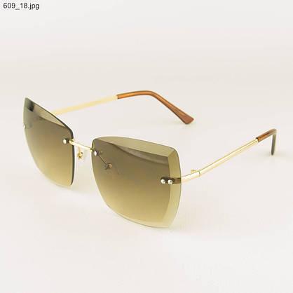 Оптом солнцезащитные квадратные женские очки с коричневыми линзами - 609, фото 3