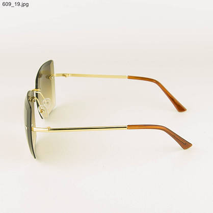 Оптом солнцезащитные квадратные женские очки с коричневыми линзами - 609, фото 2