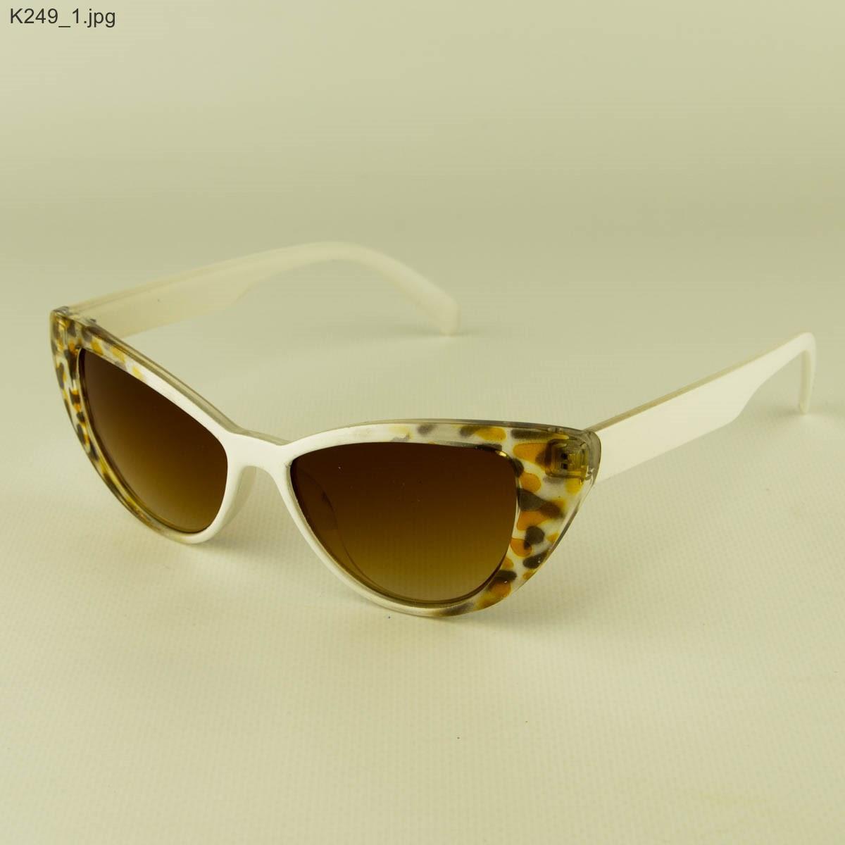 Оптом очки солнцезащитные женские кошачий глаз - Бело-леопардовые - К249