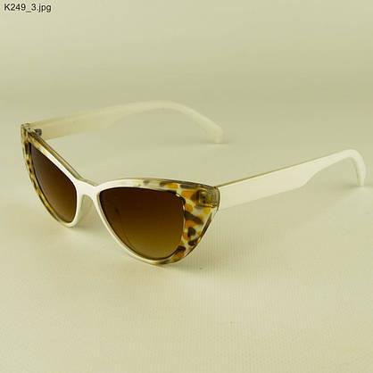 Оптом очки солнцезащитные женские кошачий глаз - Бело-леопардовые - К249, фото 3