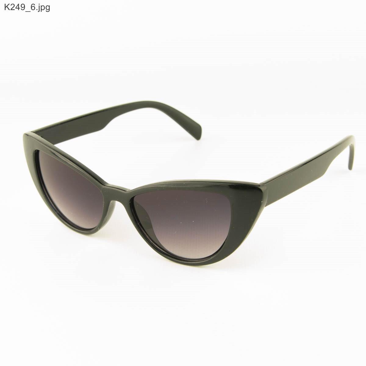 Оптом очки солнцезащитные женские кошачий глаз - Черные - К249