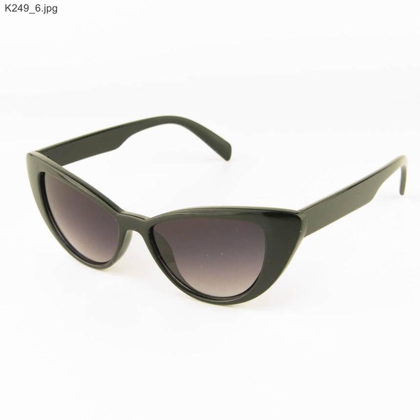 Оптом очки солнцезащитные женские кошачий глаз - Черные - К249, фото 2