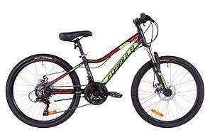 """Велосипед подростковый 24"""" Formula ACID 1.0 DD 2019 (черно-зеленый с красным)"""