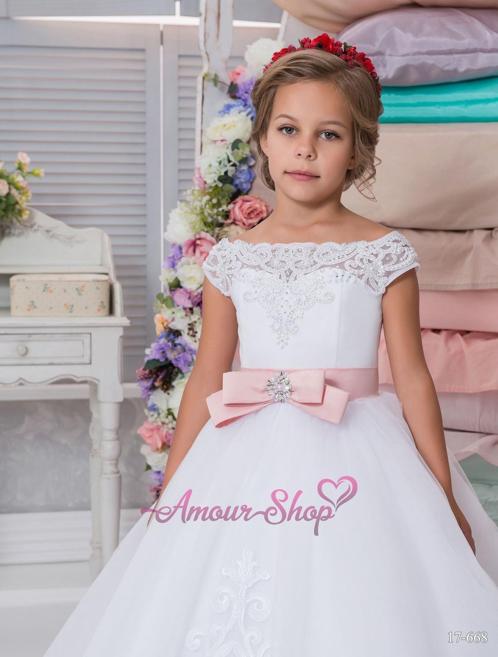 Белоснежное детское платье в пол (выпускной, конкурс, фотосессия, день рождения)