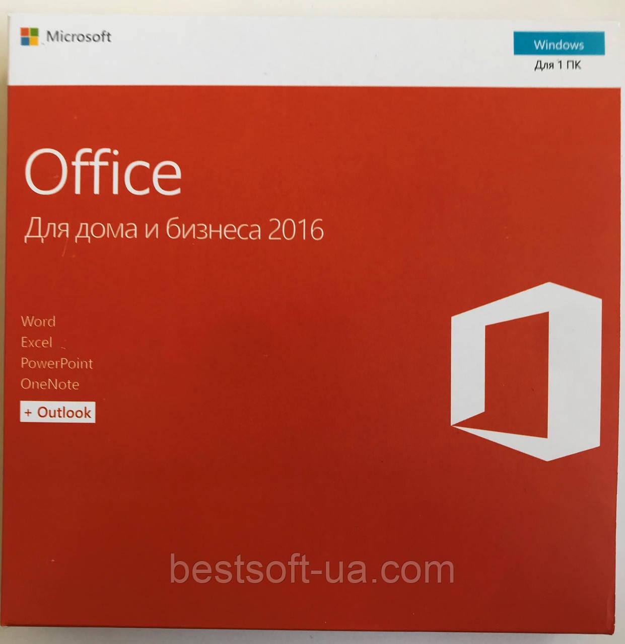 Лицензионный Microsoft Office 2016 для Дома И Бизнеса, RUS, Box-версия (T5D-02703) вскрытая упаковка, фото 1