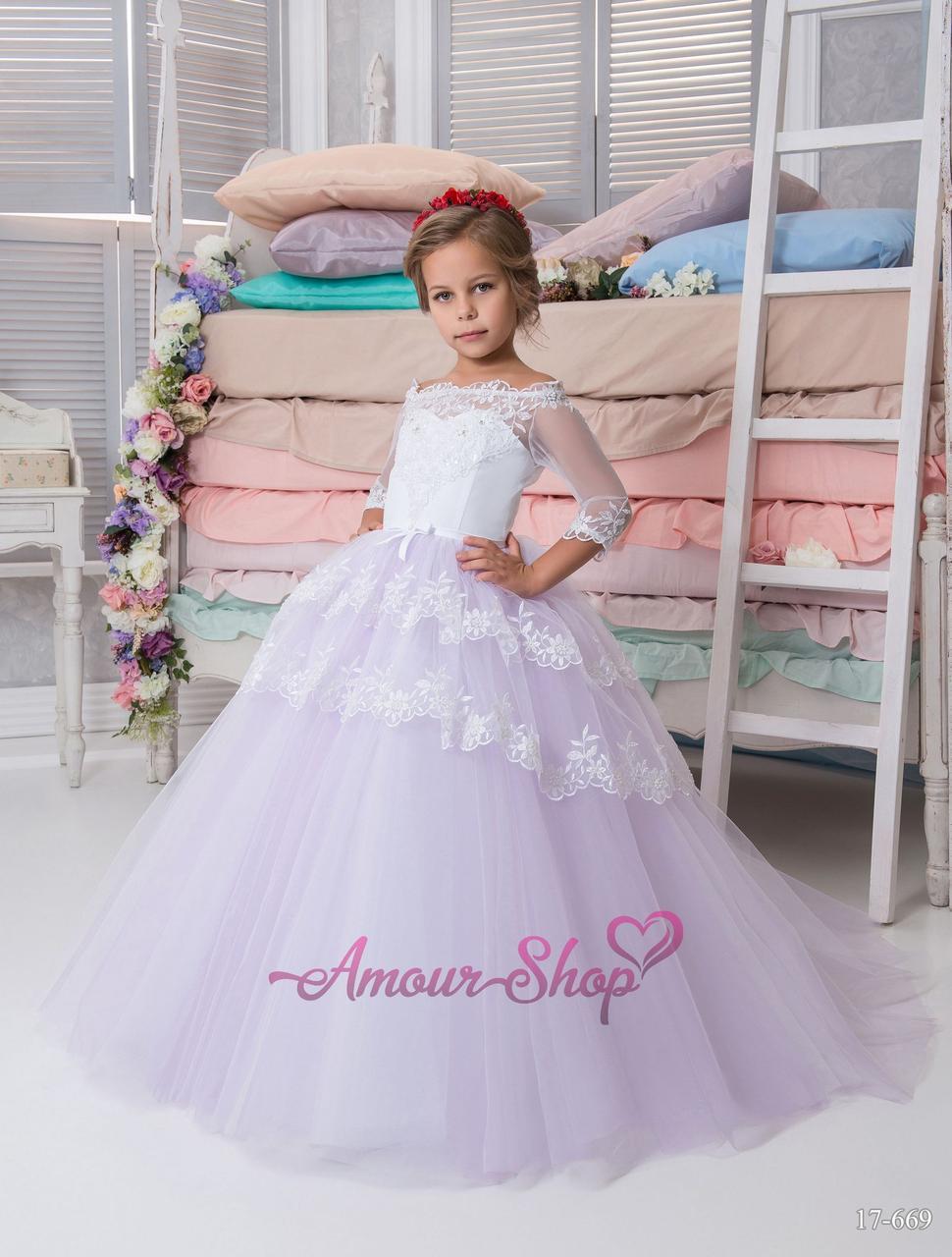 Сиреневое пышное детское платье в пол (выпускной, конкурс, фотосессия, день рождения)