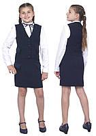 """Жилет для девочки школьный  М-1037 рост 116 122 128 134 140 146 152 158 164 и 170 синий тм """"Попелюшк, фото 1"""