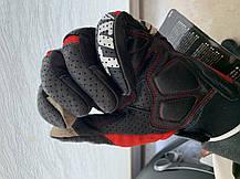 Черные с красным летние Кожаные мото перчатки с перфорацией Taichi (Япония), фото 3