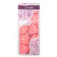 Свечи Сердечки розовые набор 10 шт (19х8х2 см)