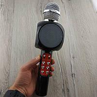 Микрофон караоке беспроводной Wster WS-1816 портативный блютуз+колонка черный