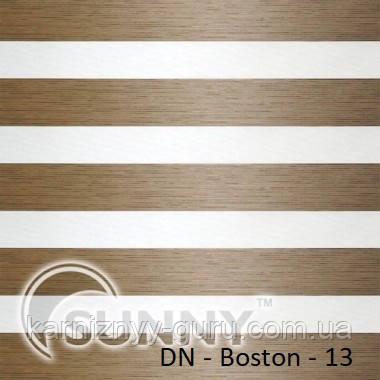 Рулонные шторы для окон День Ночь в закрытой системе Sunny с П-образными направляющими, ткань DN-Boston