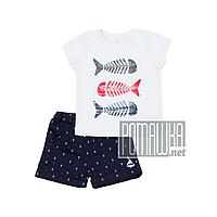 Детский летний костюм 86 12 18 мес для мальчика футболка с шортами на лето тонкий легкий КУЛИР 4670 Белый