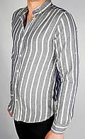 Рубашки Бренд Sayfa Мужской Синий в полоску 100% коттон арт.9186 L(р)