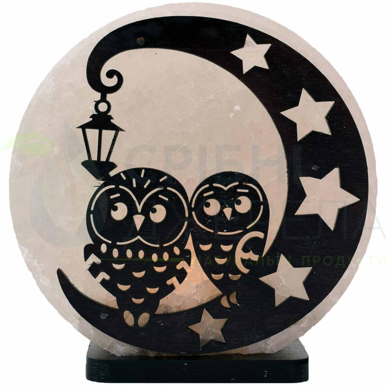 Соляна лампа Сови на місяці, 3-4 кг