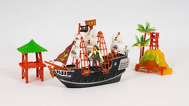 Корабль LIMO TOY пиратов Карибского моря. В комплекте 2 вышки и фигурка