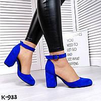 Шикарные синие замшевые туфли на каблуке Kamila , фото 1