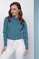 Женская офисная блузка-рубашка с длинным рукавом в полоску, зеленая