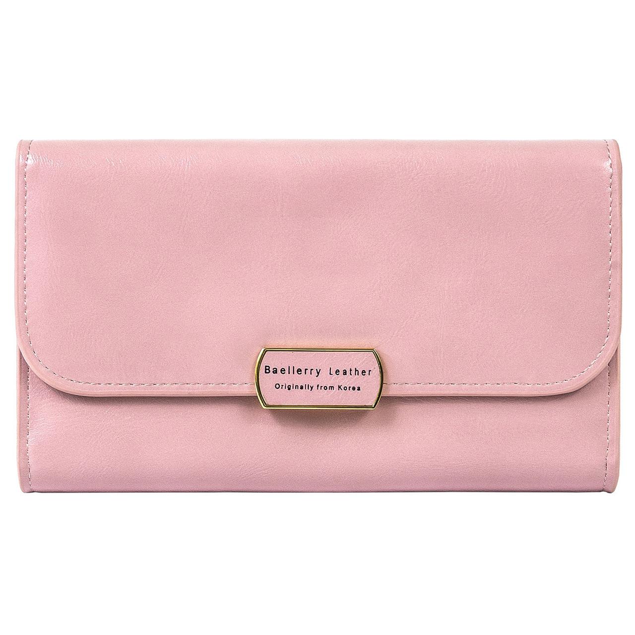 Кошелек-клатч женский Baellerry Leather 5512 с ремешком розовый