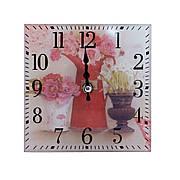 """Часы настольные """"Цветы в вазе"""", квадратные, стекло"""