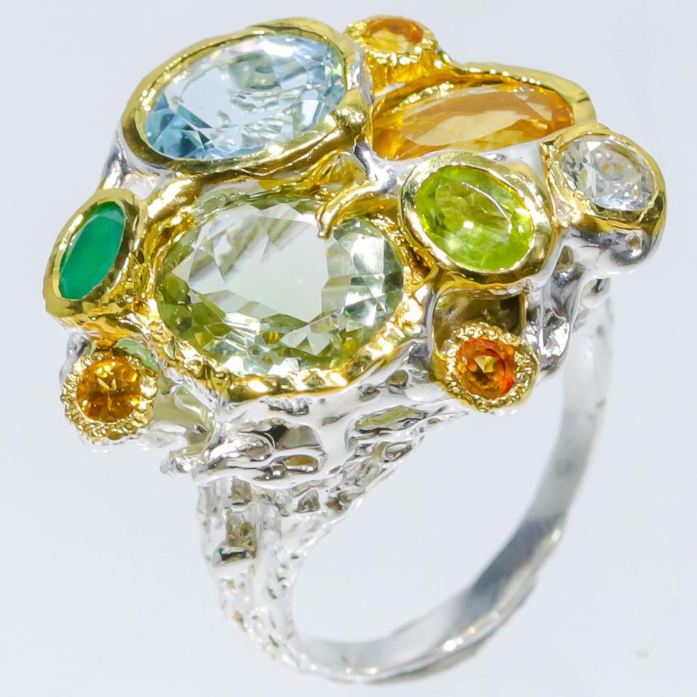 Серебряное кольцо с натуральными Цитринами Топазами Празиолитом Перидотом и Ониксом