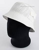 Мужская летняя панама лен с карманом белого цвета