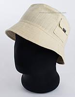 Мужская летняя панама с карманом сбоку темно-бежевая