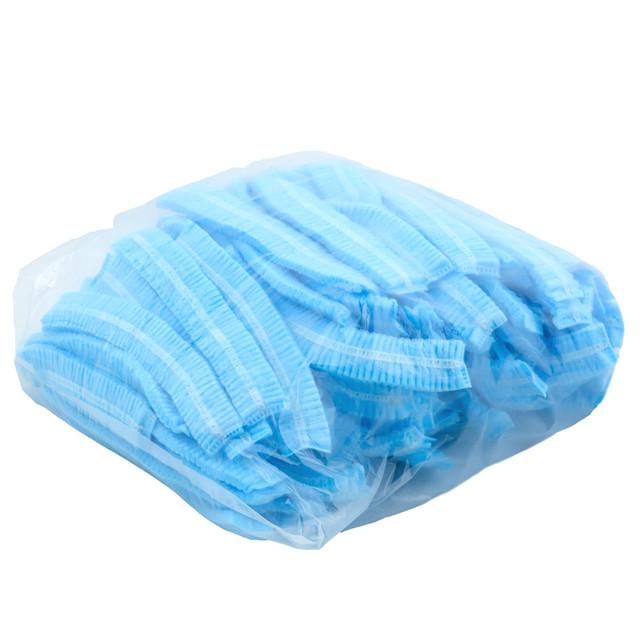 шапочки одноразовые косметологические 100 шт голубые