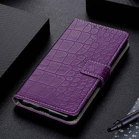 Чехол книжка для Samsung Galaxy M30 M305FD боковой с отсеком для визиток, Крокодиловая кожа, фиолетовый