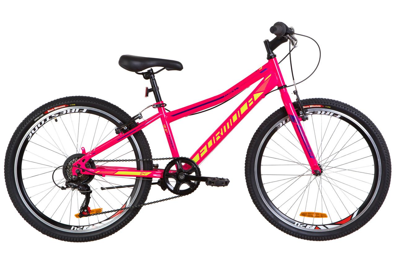 """Велосипед подростковый 24"""" Formula FOREST RIGID 2019 (малиновый с салатным)"""