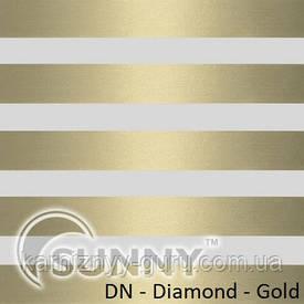 Рулонные шторы для окон День Ночь в закрытой системе Sunny с П-образными направляющими, ткань  DN-Diamond