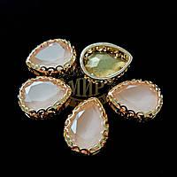 Стразы в ажурных золотых цапах Люкс, форма Капля, цвет Candy Peach, 13х18мм, 1шт