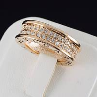 """Блестящее кольцо """"BVLGARI"""" с кристаллами Swarovski, покрытое золотом 0636"""