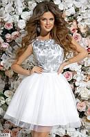 Вечернее платье мини юбка солнце  клеш без рукав гипюровое нежно белого цвета