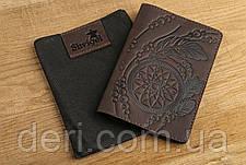 Обложка на паснорт SHVIGEL 13793 из винтажной кожи Коричневая, Коричневый, фото 3