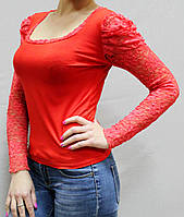 Женская блузка с ажуром №508 красная