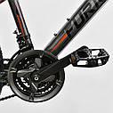 """Детский спортивный велосипед серый CORSO Furious24'' металлическая рама13"""" 21 скорость детям от8 лет, от130 см, фото 6"""