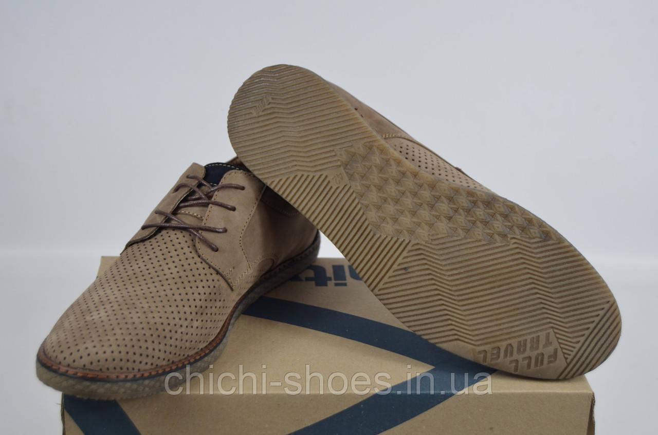Туфли мужские Affinity 1826-260 бежевые нубук на шнурках