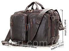 Сумка мужская Vintage 14106 трансформер Коричневая, Коричневый, фото 2