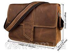 Сумка мужская Vintage 14231 в винтажном стиле Коричневая, Коричневый, фото 2
