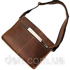 Сумка мужская Vintage 14231 в винтажном стиле Коричневая, Коричневый, фото 3