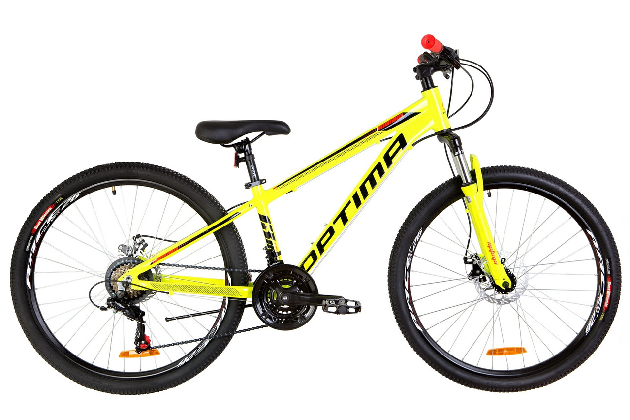 """Велосипед горный 26"""" Optimabikes MOTION DD 2019 (желто-черный с оранжевым)"""