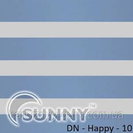 Рулонные шторы для окон День Ночь в закрытой системе Sunny с П-образными направляющими, ткань  DN-Happy - 2